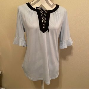New York & Co. Navy Striped Lace Up Blouse Medium